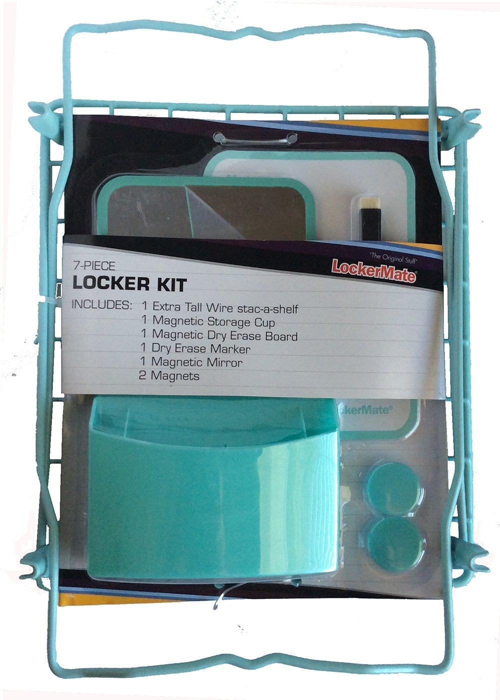 LockerMate 7 Piece Tall Wire Locker Kit with Magnets, Mirror, Dry Erase Board, Storage Cup, Dry Erase Marker School Supplies (Black) (Mist Green)
