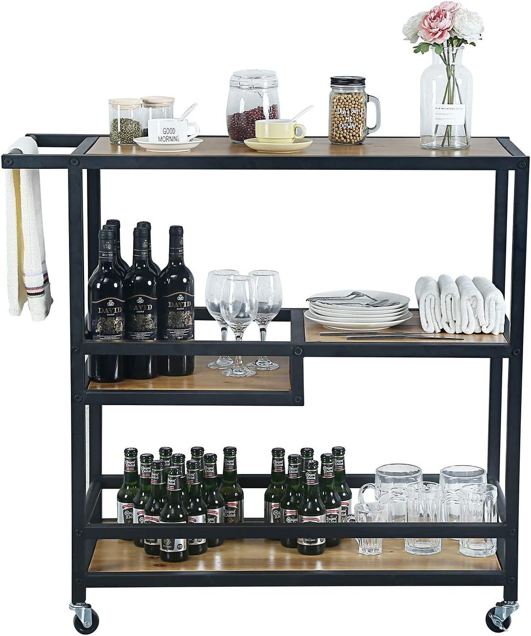 Weven Industrial Serving Cart, 3-Tier Kitchen Utility Cart on Wheels with Storage for Living Room, Wood Look Accent Furniture with Metal Frame