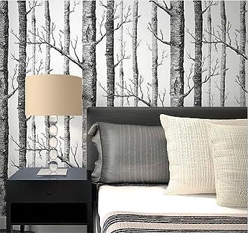 Hu0026M Hochwertige Non Woven Moderne Einfache 3D Schwarz Weiß Bäume Wallpaper  Wohnzimmer