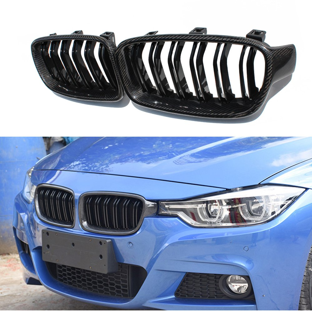 1 pair carbon fiber M3 style front grill for BMW 3 series F30 F31 2012+ YOUCHE