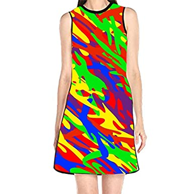 3b5b3eca1ac Image Unavailable. Image not available for. Color  Gopack Shift Dress  Sleeveless Tank Dresses Rainbow Camouflage ...