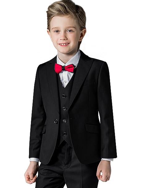 Chicos Conjunto de trajes de color sš®lido para ni os Vestido formal de 5  piezas Slim Fit Show Clothes Ropa formal  Amazon.es  Ropa y accesorios b80d3f259b7