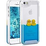 kwmobile Cover custodia rigida per Apple iPhone SE / 5 / 5S con liquido - Custodia rigida backcover custodia case protettiva acqua con Design anatre in giallo blu trasparente