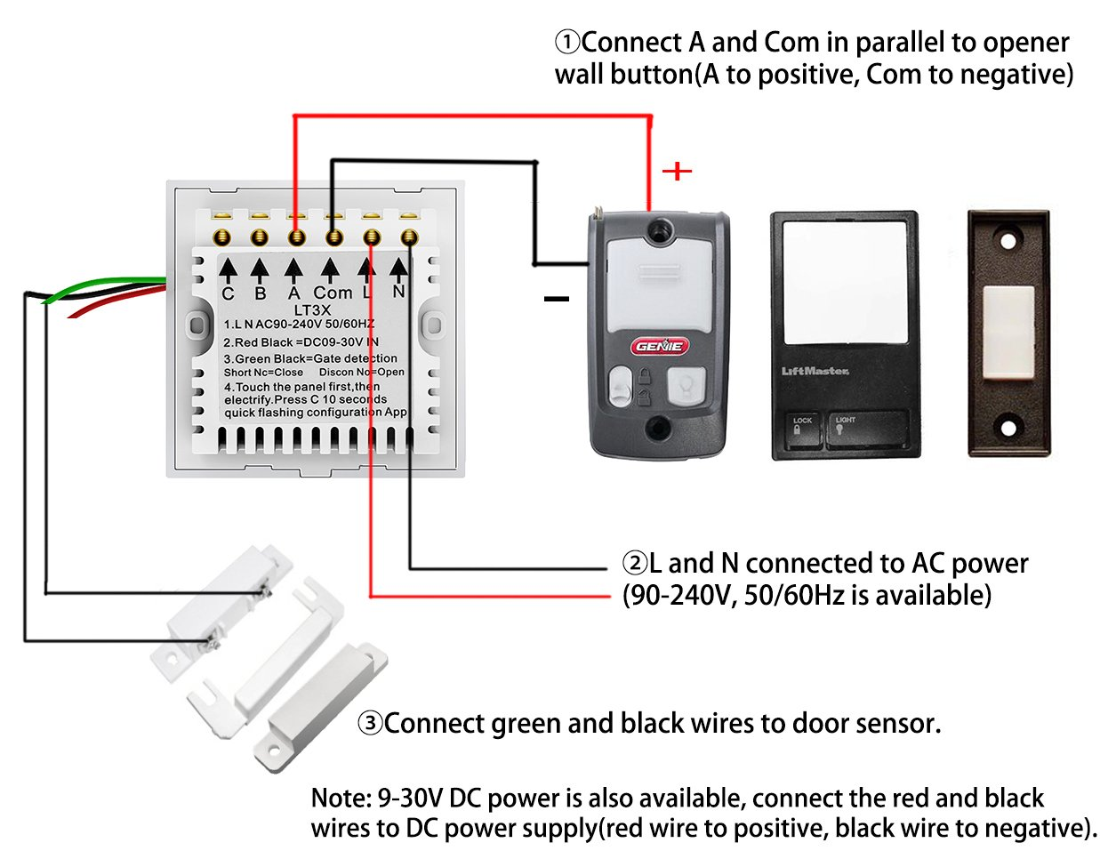 Wireless Garage Door Opener Remote WiFi Switch Universal Controlled by Smartphone for Automatic Gate Opener System(with Door Sensor) by Pearok (Image #3)