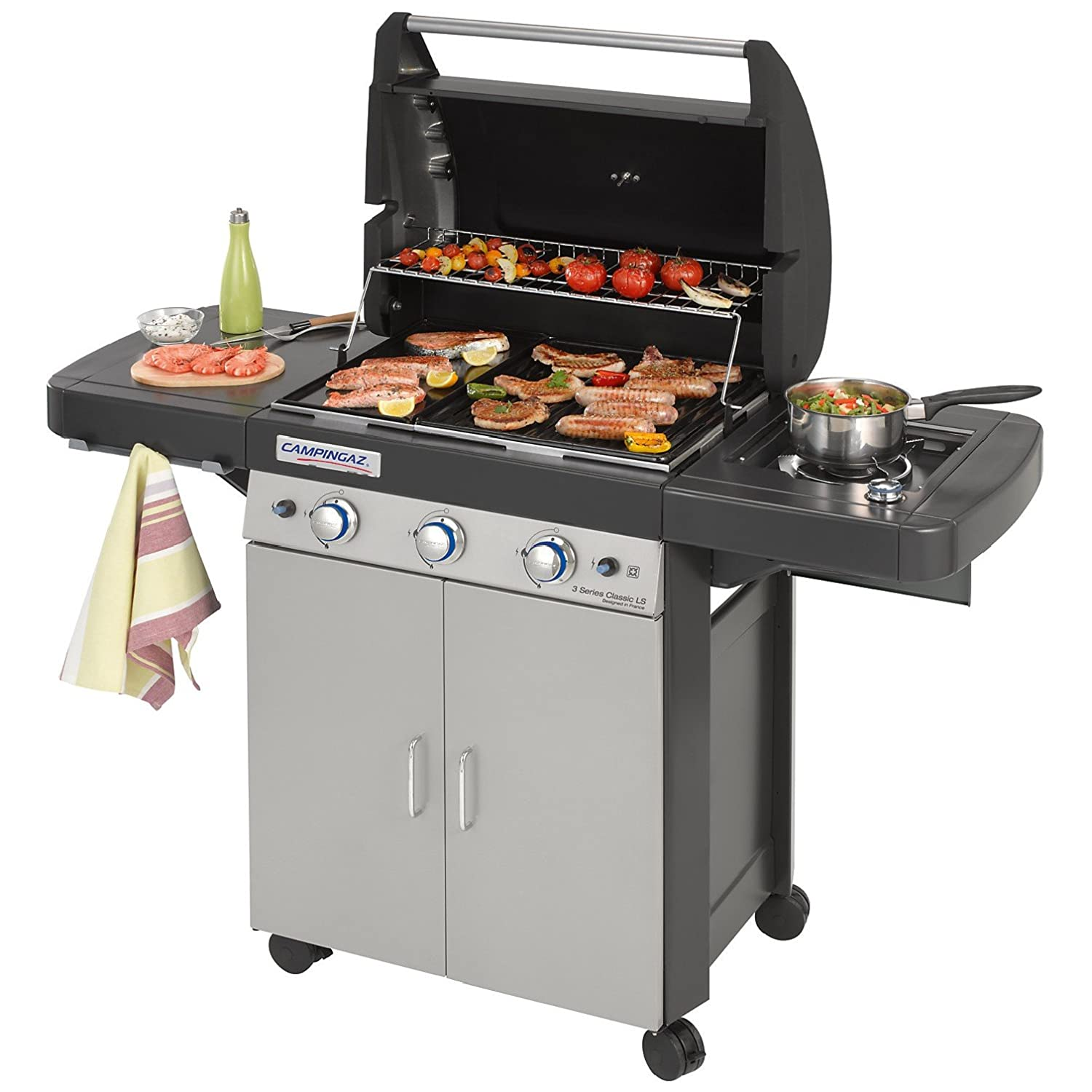 Campingaz 3 Series.Campingaz Gas Bbq 3 Series Classic Ls 3 1 Burner Stainless Steel Gas Barbecue Large Gas Grill With Side Burner Stamped Steel Grid Griddle