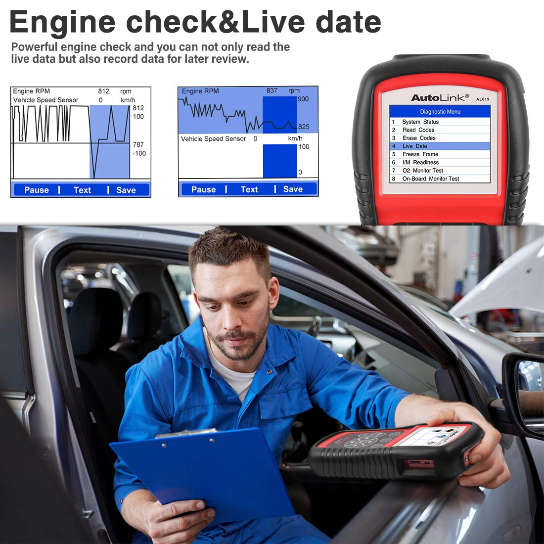 Autel AutoLink AL619 OBD2 Scanner ABS/SRS Diagnostic Scan Tool,Turns Off Engine Light (MIL) and ABS/SRS Warning Lights,Same Function as The ML619 Code Reader by Autel (Image #4)