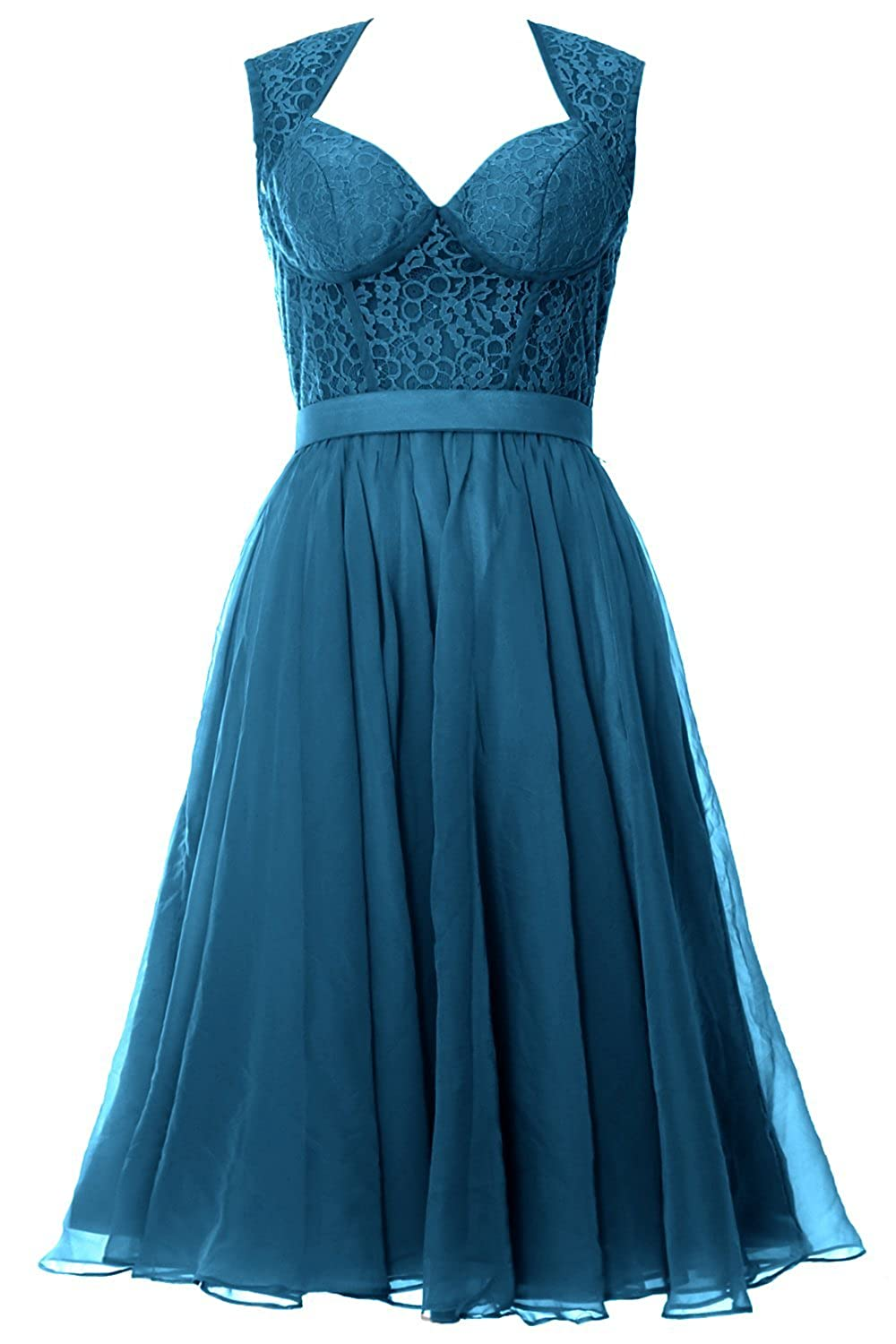 MACloth Women Chiffon Lace Illusion Short Prom Formal Dress Evening Party Gown