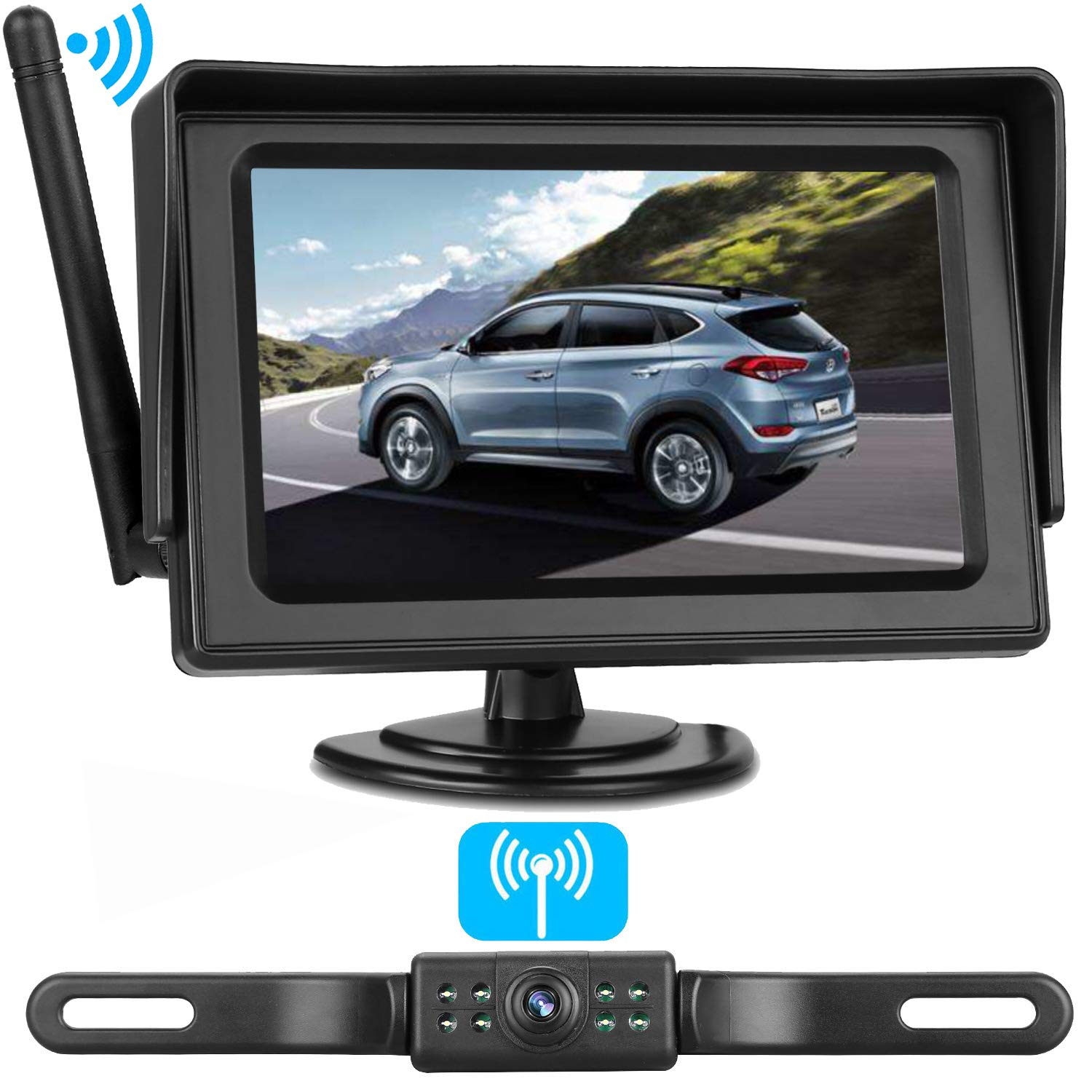 ZSMJ Wireless Backup Camera and Monitor Kit 9V-24V Rear View/Front View System For Car/SUV/Minivan Night Vision Waterproof Camera On/Off Guide Lines