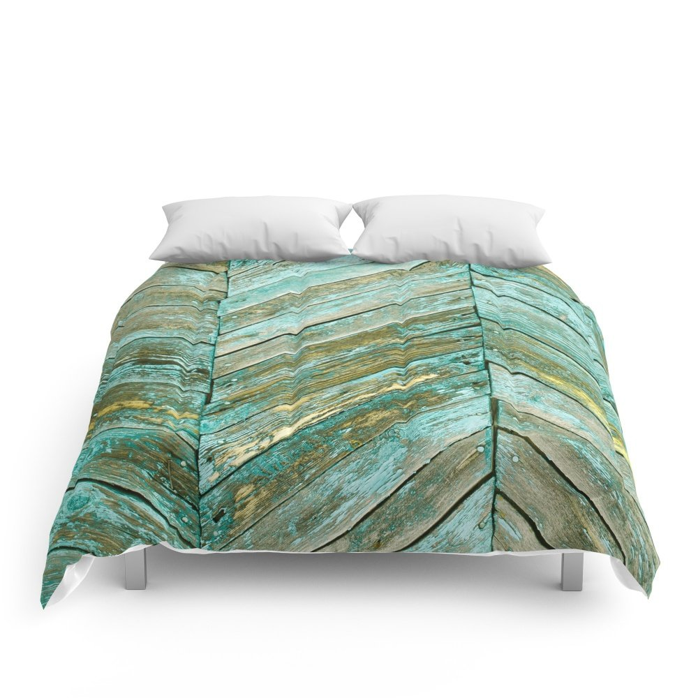 Society6 Vintage Blue Wood Comforters Full: 79'' x 79''
