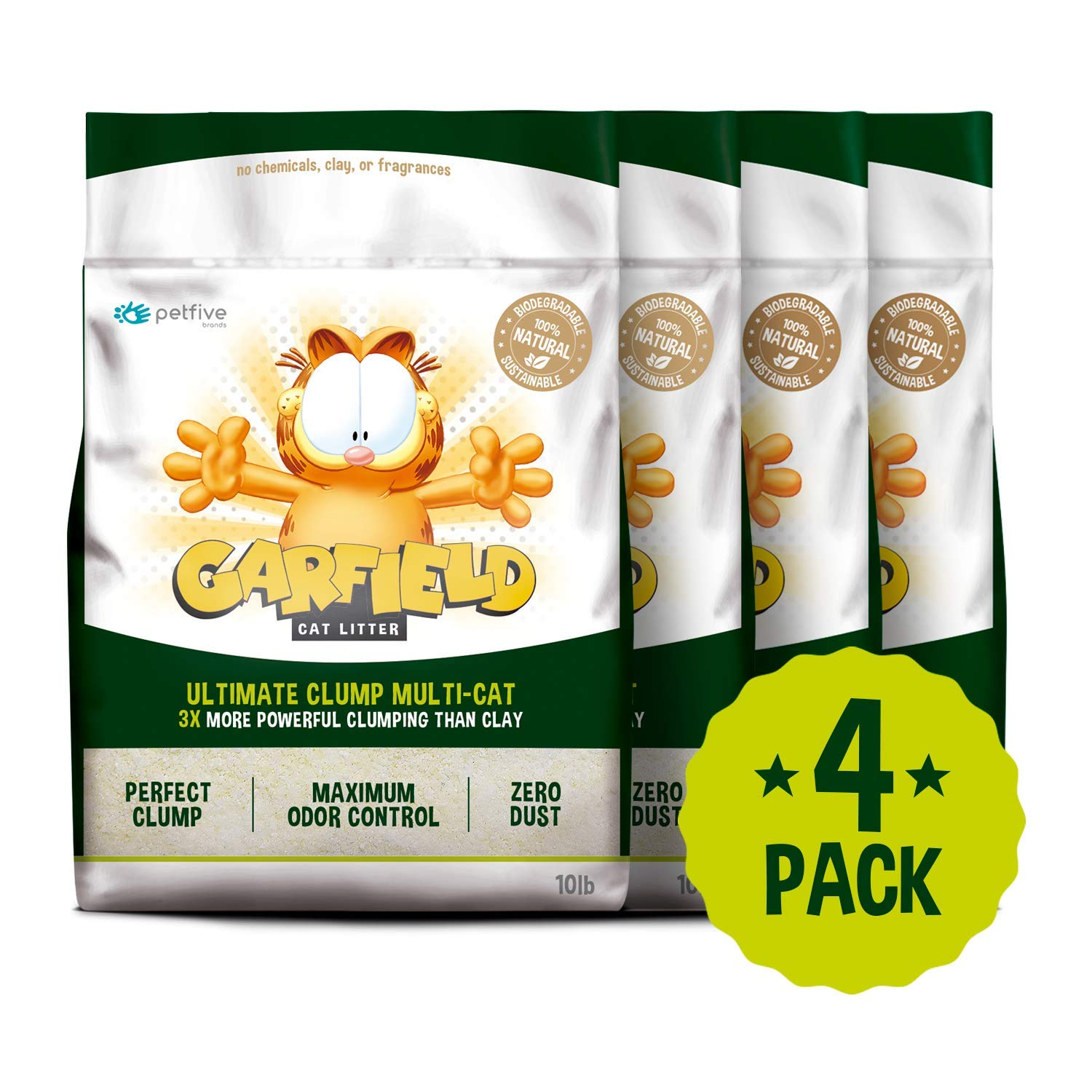 Garfield Cat Litter All Natural, Fast Clumping, Perfect for Multi-Cat Homes, Tiny Grains, 40 lb by Garfield Cat Litter