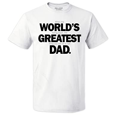 534a98e29a Pins & Bones World's Greatest Dad Shirt, Funny Father's Day Gifts for Dad,  Wht