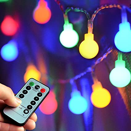 Homeleo 50 Led Color Changing String Lights With Remote Timer Indoor Outdoor Christmas Fairy Lights For Bedroom Garden Gazebo Balcony Christmas Tree
