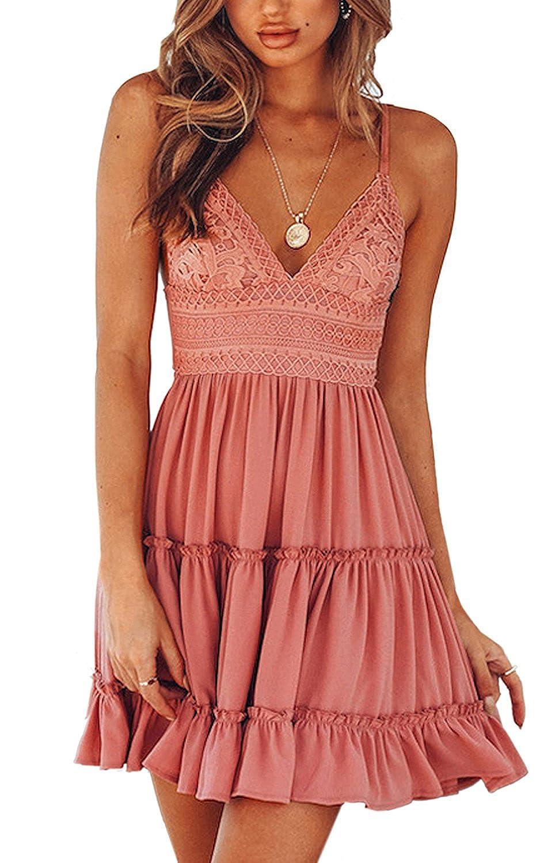 V Ausschnitt Kleid Damen Spitzenkleid Träger Rückenfreies Kleider Sommerkleider Strandkleider Weiß
