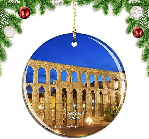 Weekino Acueducto de España Segovia Decoración de Navidad Árbol de Navidad Adorno Colgante Ciudad Viaje Colección de Recuerdos Porcelana 2.85 Pulgadas: Amazon.es: Hogar