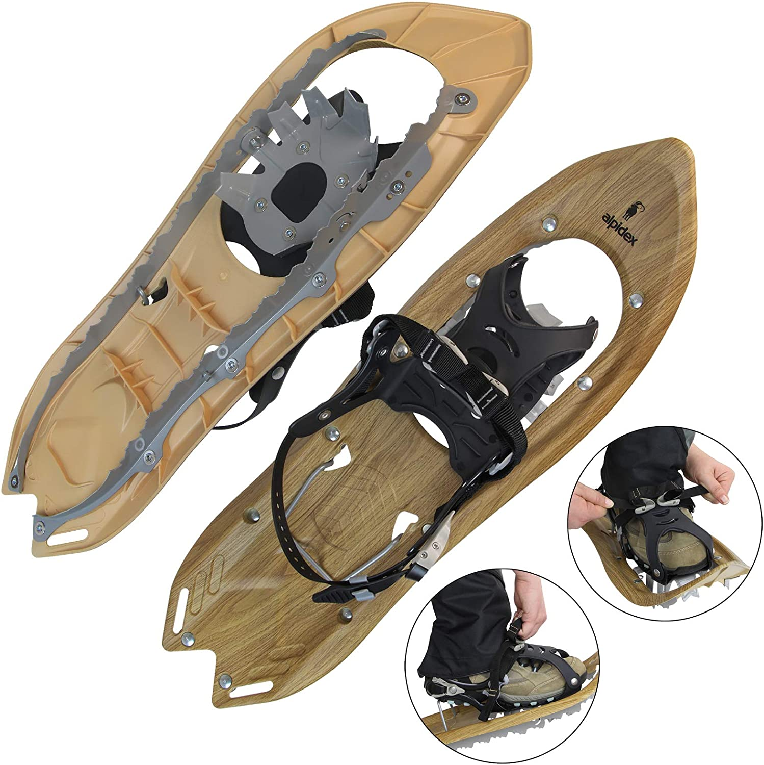 ALPIDEX Wood Look Snowshoes Shoe Sizes 38 to 45 User Weight up to 130 kg Including Carry Bag Optional Carbon Poles