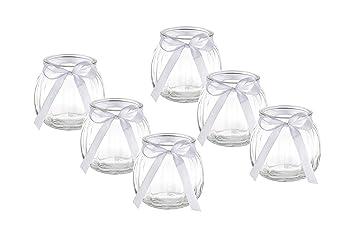 Amazon De Casa Vetro 12 X Deko Vase Schleife Weiss Oder Rosa Kleine