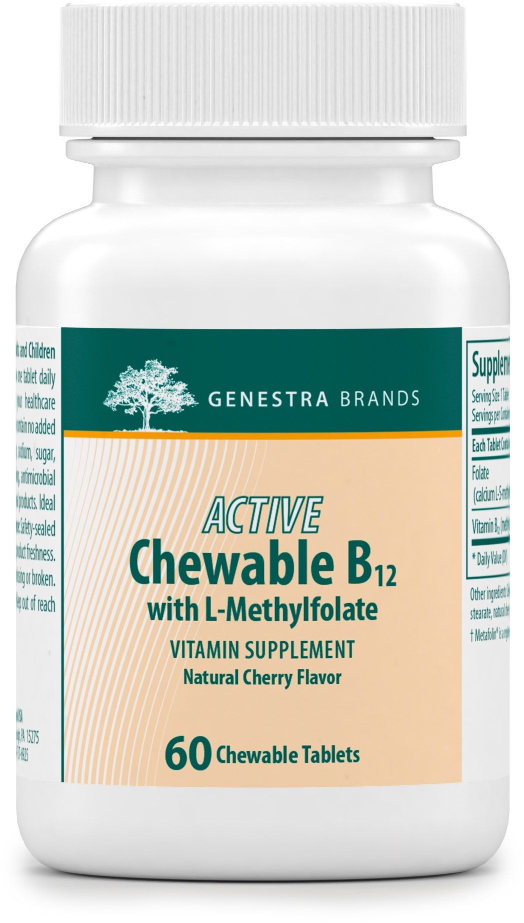 Genestra Brands - Active Chewable B12 with L-Methylfolate - Chewable Folate Supplement - Natural Cherry Flavor - 60 Chewable Tablets