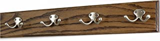"""product image for PegandRail Oak Coat Rack with Satin Nickel Double Style Hooks (Walnut, 20"""" x 3.5"""" with 4 Hooks)"""