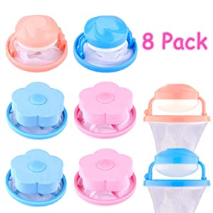 Whaline 8 Pcs Washing Machine Lint Filter Bag, Floating Pet Hair Lint Mesh Remover, Household Reusable Hair Catcher, Lint Traps Laundry Blue and Pink (4 Styles)