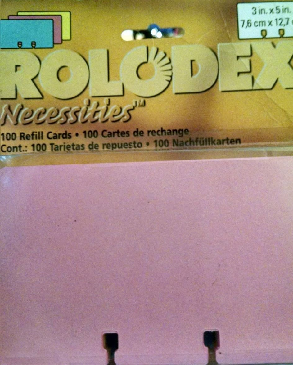 Rolodex Necessities 3x5 inch cards for all Rolodex 3'' x 5'' file systems - Mix of Pink, Yellow, Blue. 100 cards total.
