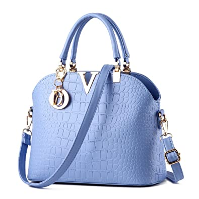 3fe4003ce7df LIZHIGU Womens Leather Shoulder Bag Top-handle Handbags Crocodile Pattern  Tote Purses Sky Blue 1721
