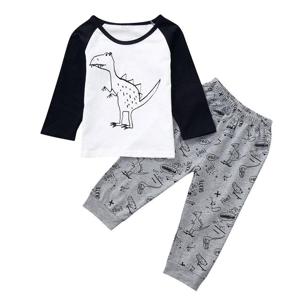 278493237c1f Amazon.com  Sameno Baby Boys Pajamas Dinosaur Print Long Sleeve Tops ...