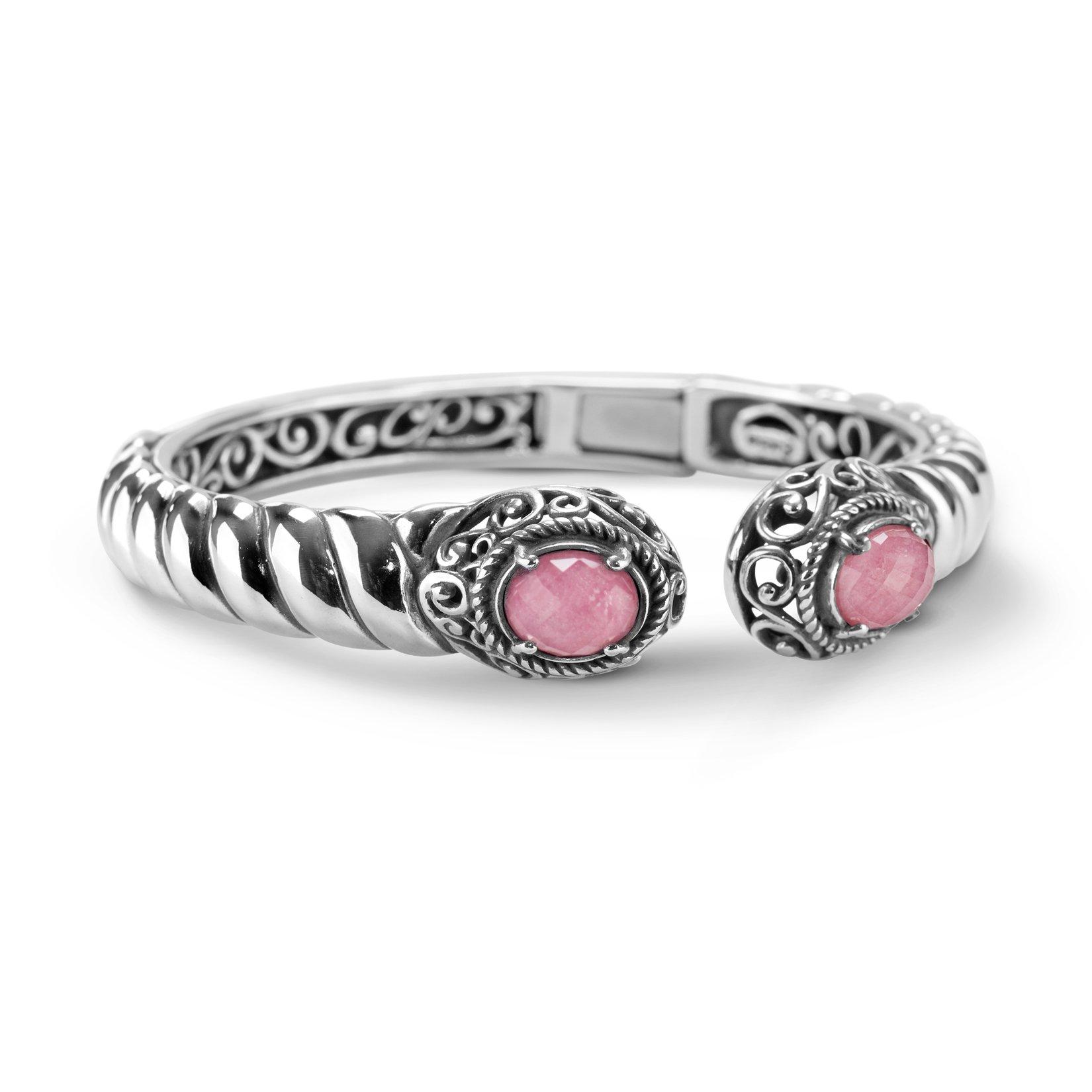 Carolyn Pollack Genuine .925 Sterling Silver Pink Rhodonite Cuff Bracelet