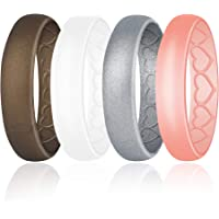 LOYOFO Silicone Wedding Breathable Rings for Women, Stylish Heart Pattern, Rubber Wedding Bands Sets Hypoallergenic…