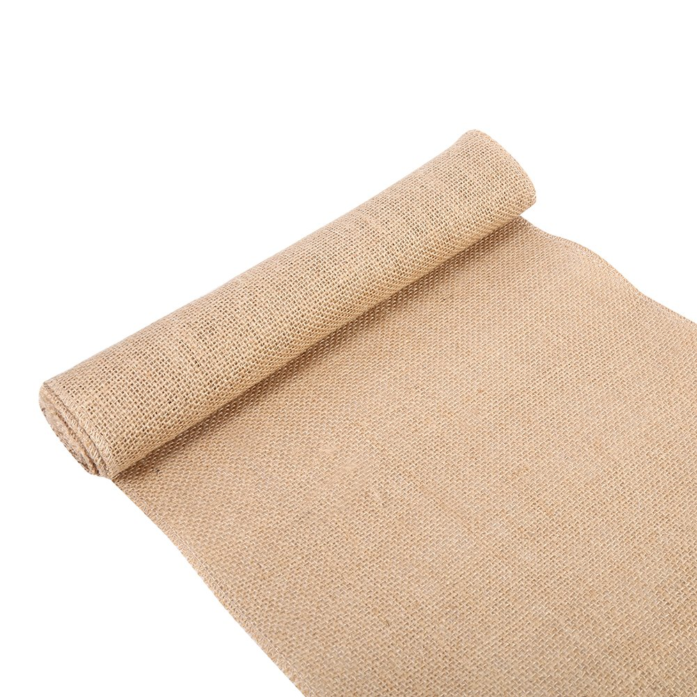 Vintage Nature Style Linen Burlap Fabric Burlap Table Runner for Crafts Chair Christmas Wedding Party Decoration(30x200cm) Zerodis