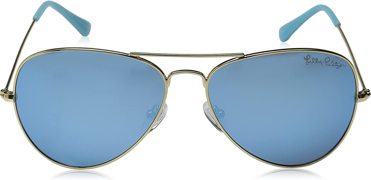 16e00ad8f3d Amazon.com  Lilly Pulitzer Women s Lexy Polarized Aviator Sunglasses ...