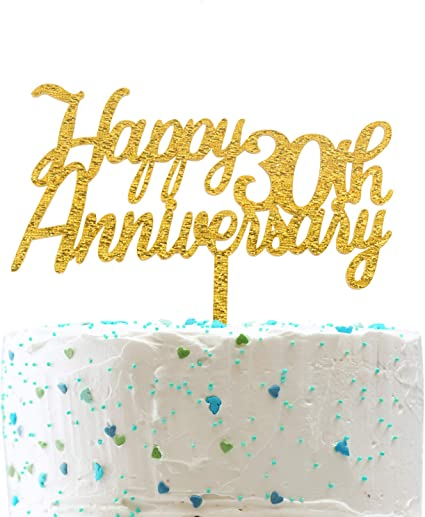 Amazon Com Happy 30th Anniversary Cake Topper Gold Glitter Cheers To 30 Years Sign 30th Birthday Wedding Anniversary Party Decorations Toys Games