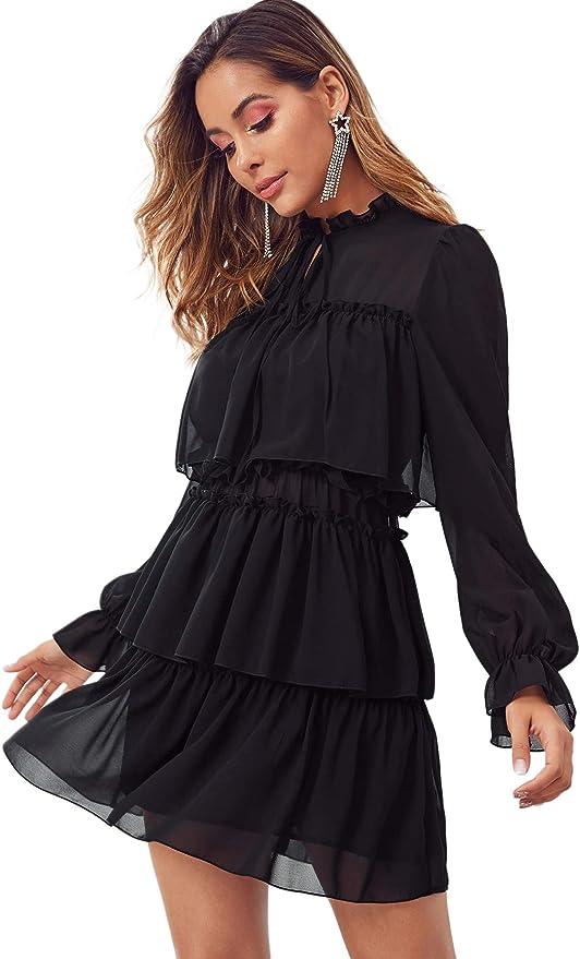 DIDK Damen Kleid Elegant Langarm Kurz Hochzeitkleider Partykleid mit Halsband R/üsche Bollenkleid Blusekleid