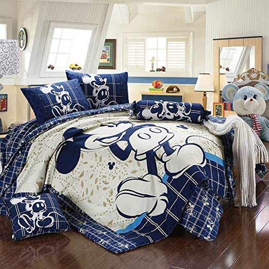 Mickey Minnie Mouse Bedding Set Queen King Size Flat Sheet 100