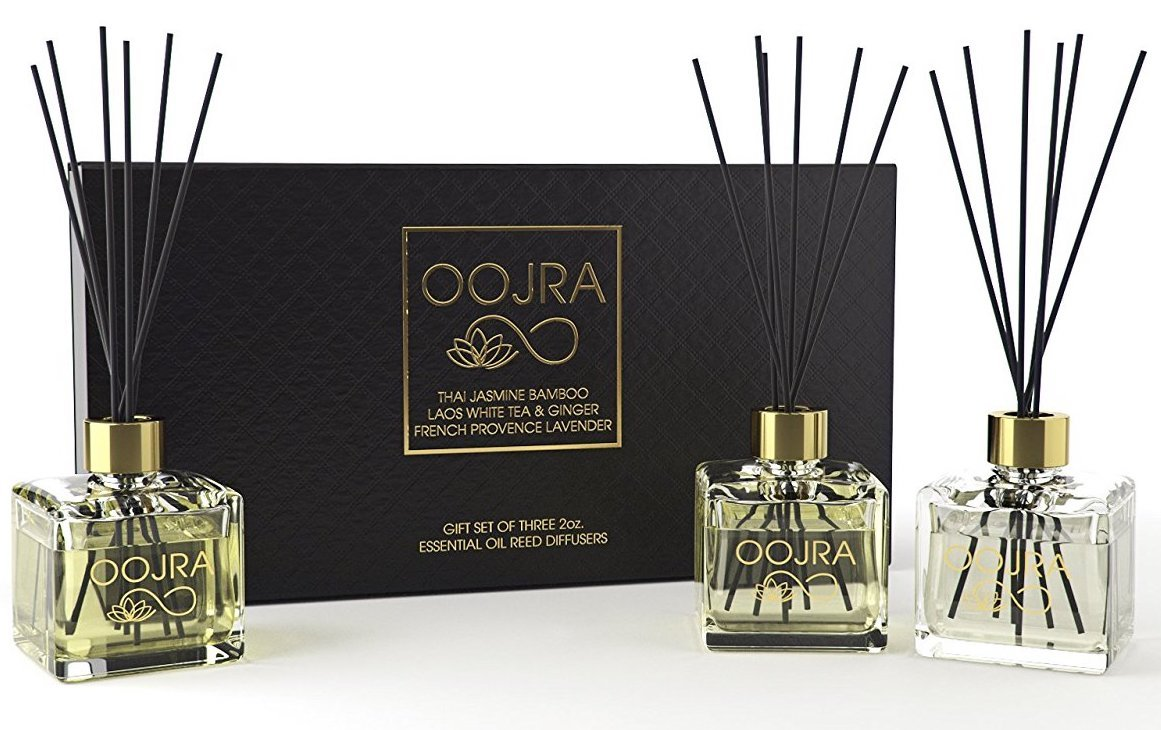 Oojra 3 (2oz) Essential Oil Reed Diffusers Aromatherapy Gift Set; Thai Jasmine Bamboo, Laos White Tea & Ginger, French Provence Lavender; decor bottle, premium black reeds, 6oz total (lasts 5+ months)