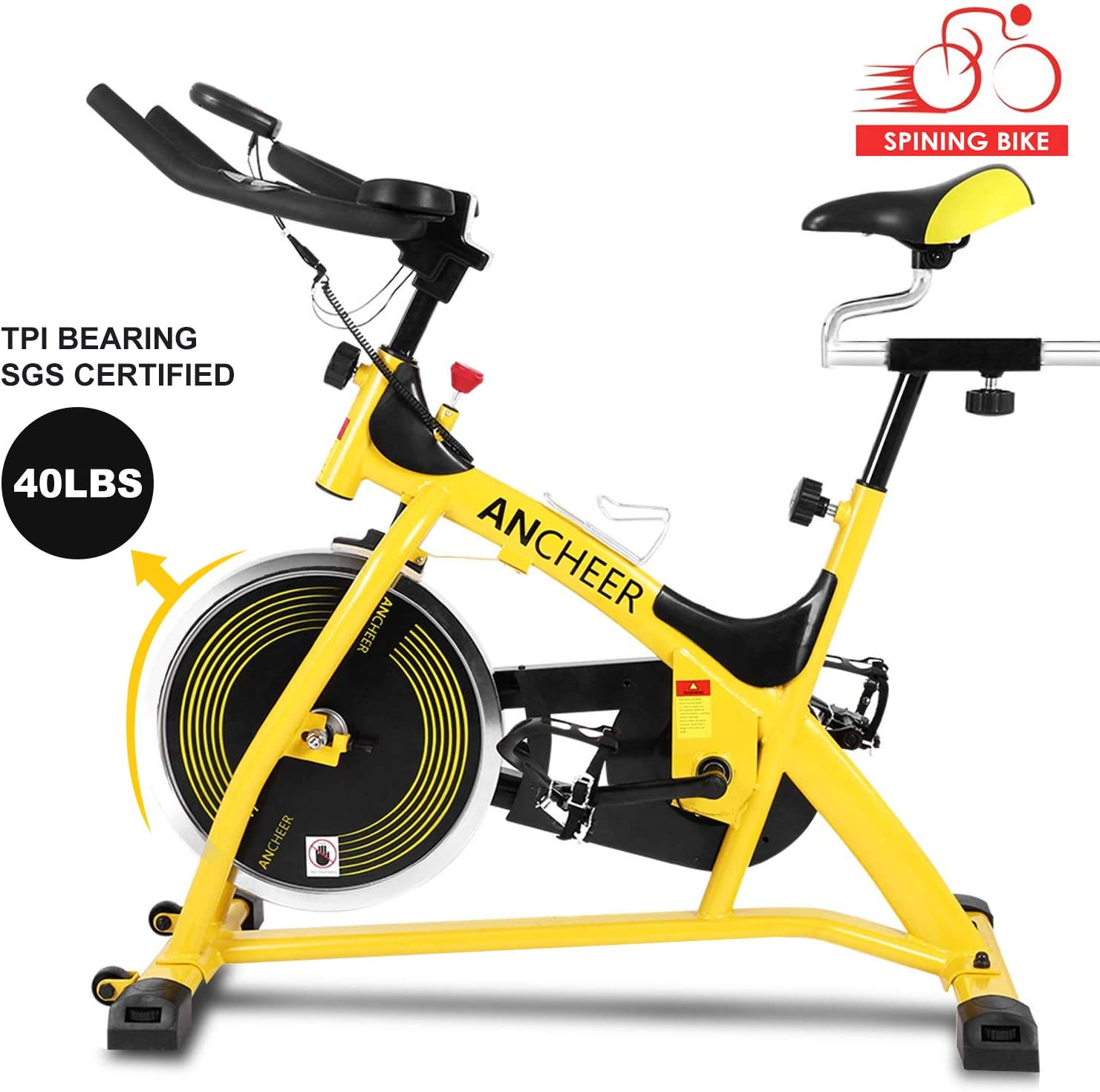 ANCHEER Indoor Cycling Stationary Bike, 40 LBS Flywheel Silent Belt Drive Home Exercise Bike