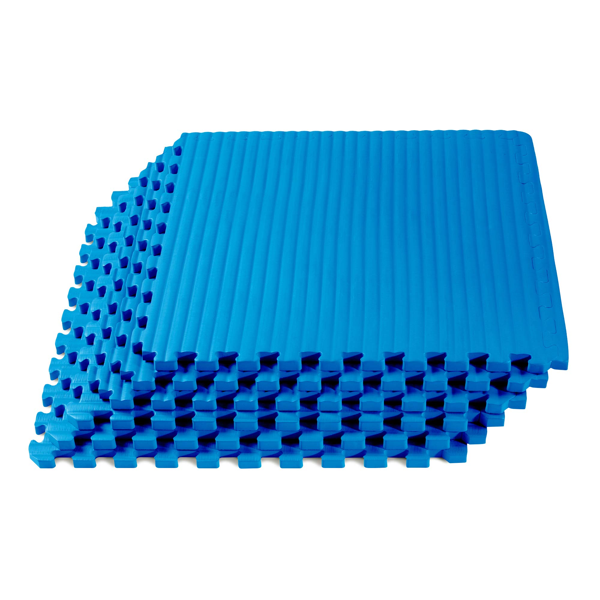 We Sell Mats Martial Arts & MMA Workout Mat, Tatami Pattern with EVA Foam, Interlocking Floor Tiles Tiles, Anti-Fatigue Support, 24 x 24 x 3/4 inch, Blue, 120 Square Feet (30 Tiles)