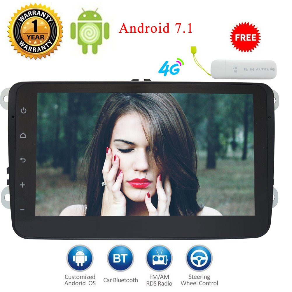 (4G Dongle As gift)Eincar 8 inch 2 Din Android 7.1 system Car Stereo Radio HD 1024*600 Muti-touch Screen 3D GPS Navigation Car DVD Player special for Volkswagen Support 3G WIFI Bluetooth OBD2 Mirror Link with Backup Camera Dash Headunit B076ZD9THS