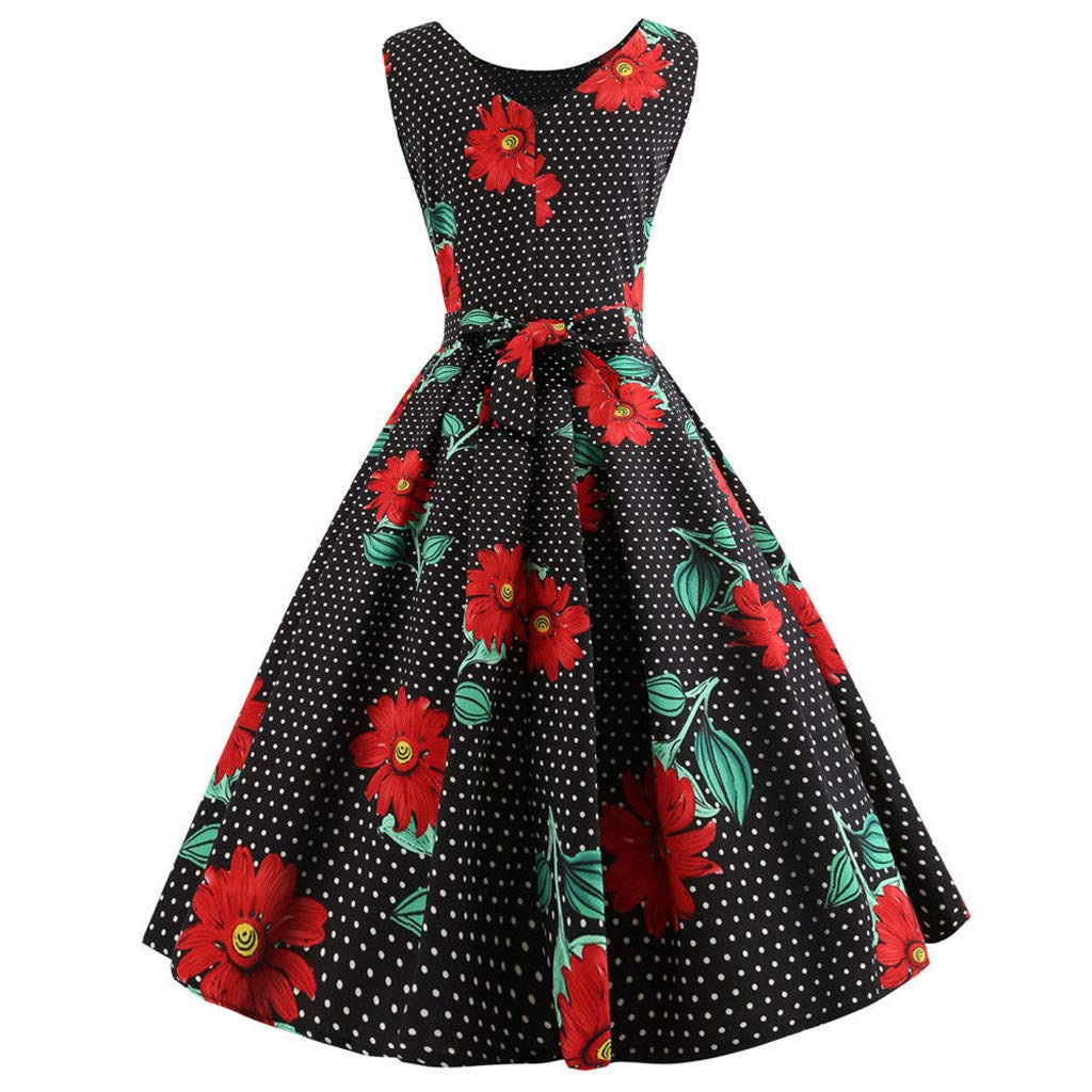 Women s Vintage 50s Hepburn Dresses 1950s Retro Rockabilly Sleeveless  Floral Polka Dot Printed A-Line Swing Dress Evening Party Cocktail Dress   ... c6641aa95058