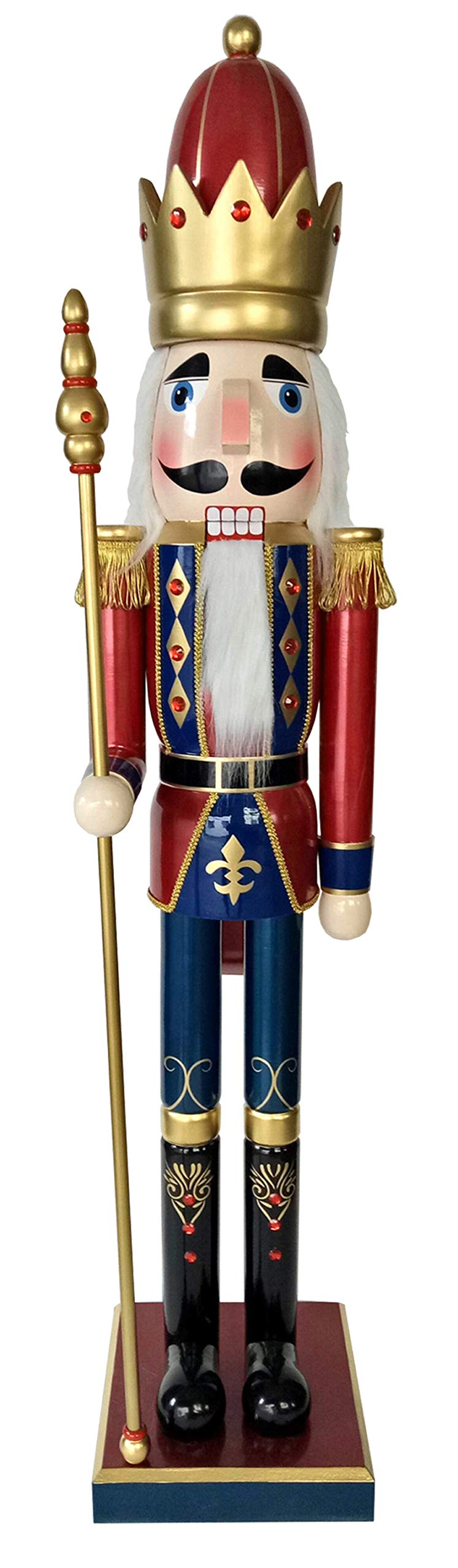 Santa's Workshop Bejeweled King Nutcracker 60'' Tall Red/Blue/Gold