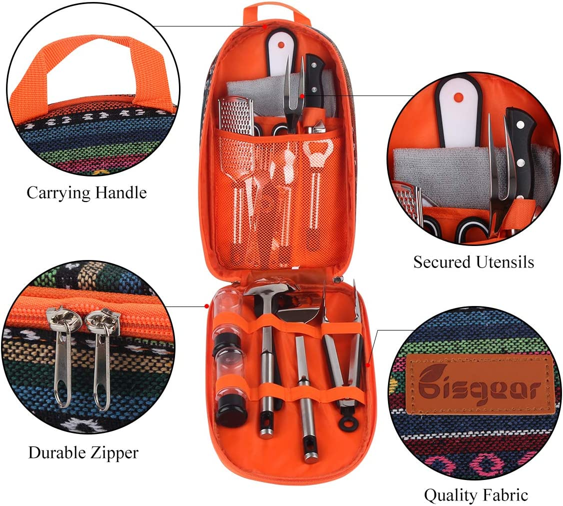 Scissors Tongs Cutting Board Spork Rice Paddle Knife Bisgear 14pcs Backpacking Camping Cookware Kitchen Utensil BBQ Organizer Travel Mess Kit with Water Resistant Case