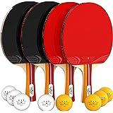 NIBIRU SPORT Ping Pong Paddle Set (4-Player Bundle), Pro Premium Rackets, 3 Star Balls, Portable Storage Case, Complete Table