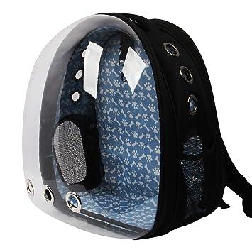 Conysan Panorámico Gatos Perros Mochilas de Viaje, cápsulas para Mascotas, Transparente Transpirable Mochilas para Animales (Negro)