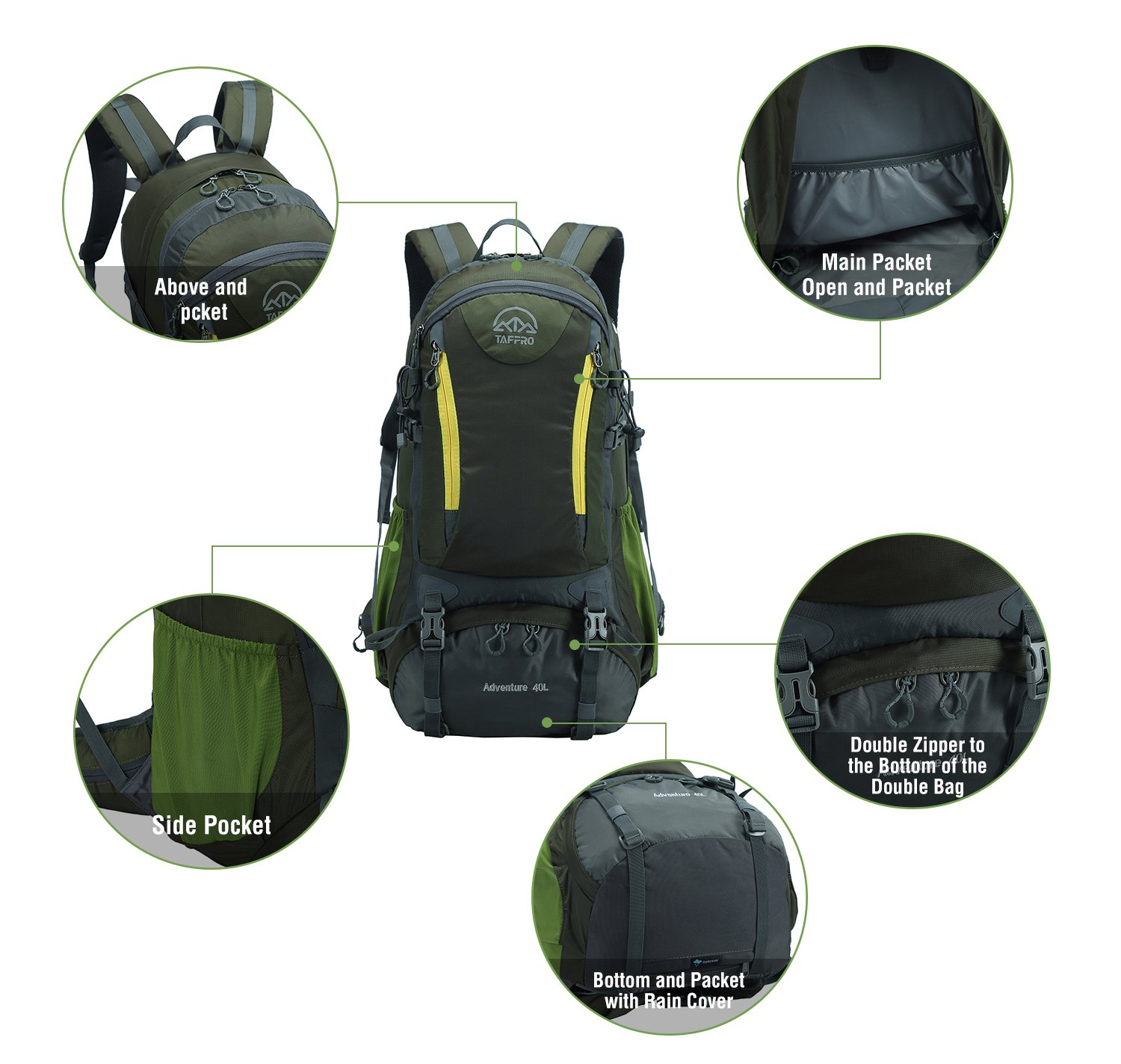 8c9b7216a3cf Amazon.com   Tappro Lightweight Packable Hiking Backpack with Rain Cover  for Travel Climbing Camping Mountaineering Backpacking   Sports   Outdoors