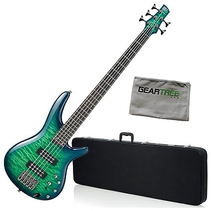 Amazon Com Ibanez Sr405eqmslg Sr Standard 5 String Bass Green Burst
