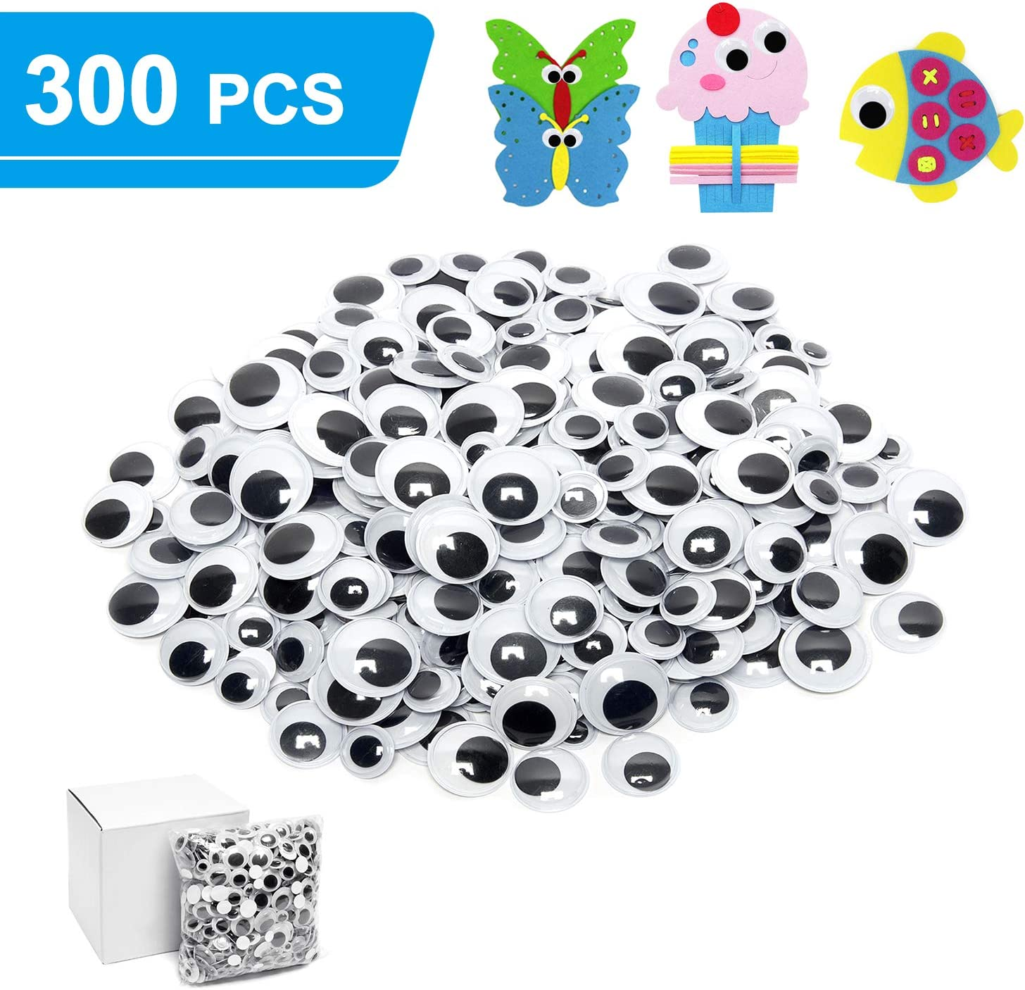 for Craft Sticker Multi Sizes 12mm 15mm 18mm 20mm 22mm 25mm for DIY by ZZYI 300pcs Googly Wiggle Eyes Self Adhesive