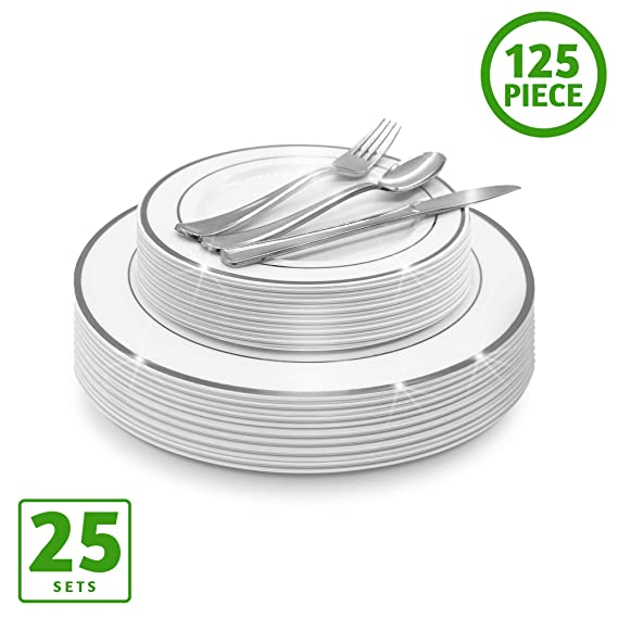 EcoEarth Silver Plastic Plates & Cutlery Combo Set (125 Piece Set), Clear Disposable Plastic Dinnerware Set Includes 25 Dinner Plates, 25 Dessert Plates, 25 Forks, 25 Knives, 25 Spoons (Silver Rim)