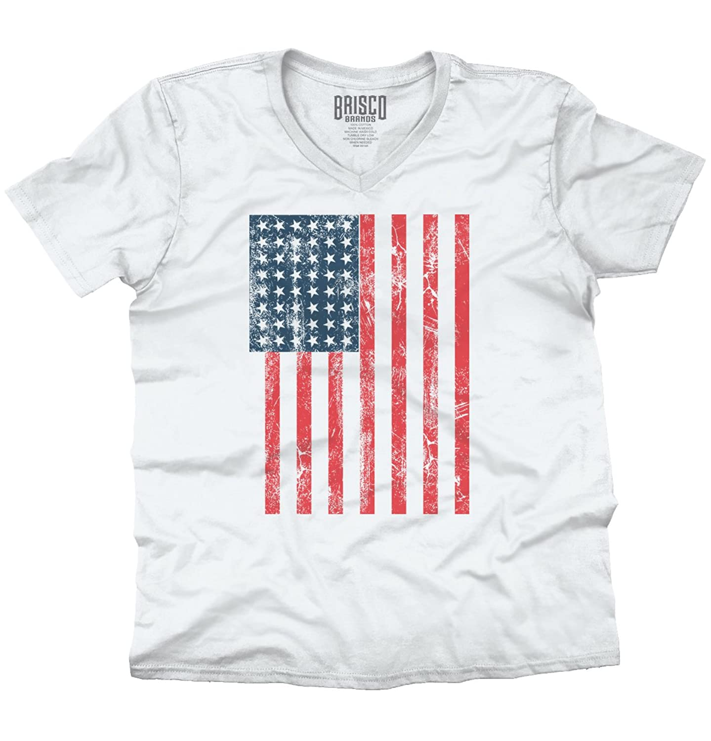 American Flag Distressed 4th Of July USA Pride V-Neck T-Shirt