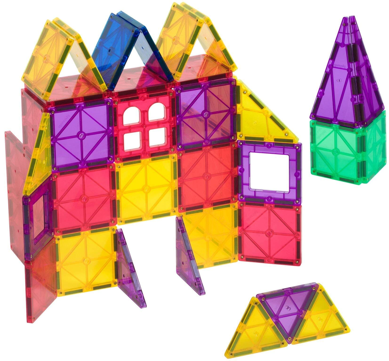 Playmags Clear Colors Magnetic Tiles Building Set 60 Piece Starter Set by Playmags (Image #3)