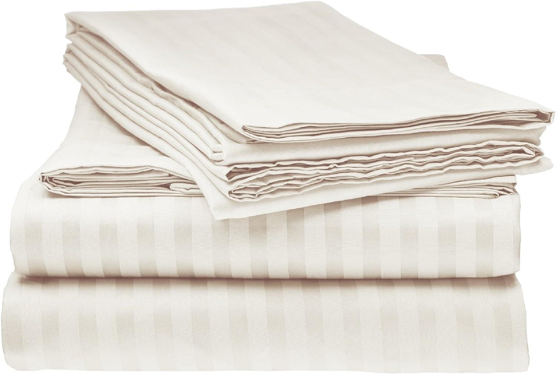 Elaine Karen 1800 Bedding - Soft Brushed Microfiber - Striped Queen Bed Sheet Set, Ivory