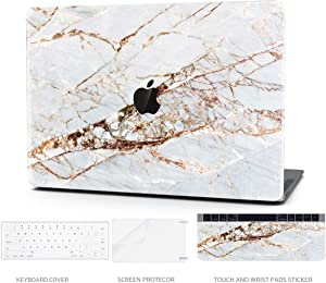 TIMOCY Laptop Case for MacBook Air 13 Plastic Hard Shell Touch Bar 4 in 1 Bundle Keyboard Cover with Screen Protector for 2018 New MacBook Air 13 '' (Model:A1932),Abstract Slash Marble